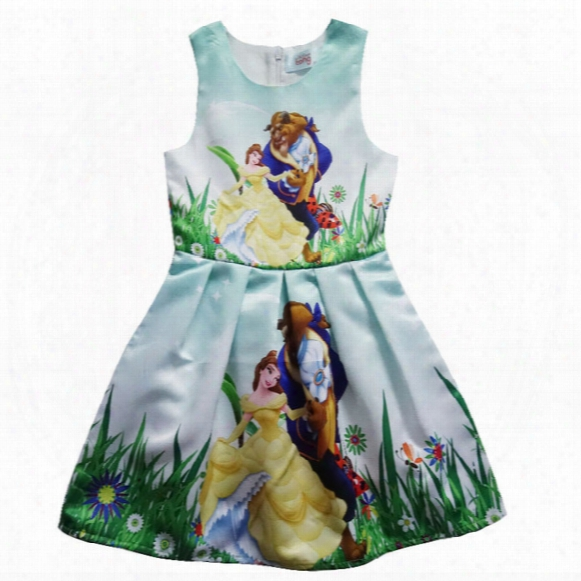 Beauty And The Beast Girls Dress Sleeveless Dress In Summer Beauty And The Beast Cartoon Princess Skirt