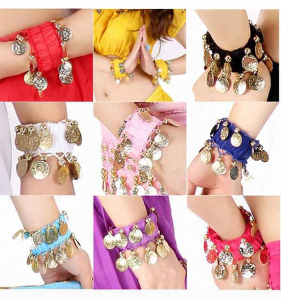 Belly Dance Wear Wrist Ankle Arm Cuffs Bracelets Match Hip Scarf Wrap Dancing Accessories#c1018