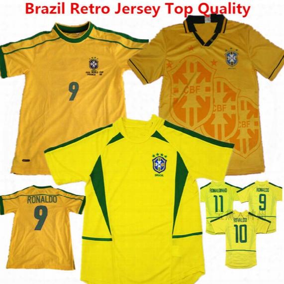 Brazil Retro Soccer Jersey 93/94 Season Romario Football Shirts 2002 Ronaldo Uniformes Ronaldinho Neymar Jr Carlos Kaka Retro Yellow Jerseys