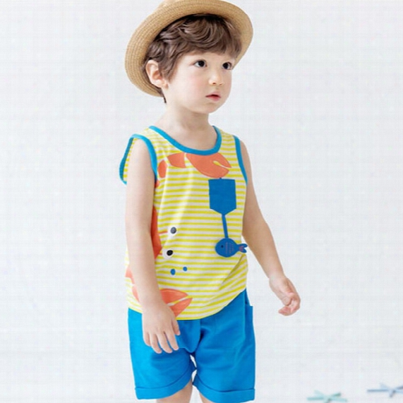 Crab Baby Boys Outfit Ssummer Cotton Toddler Clothes Sets Cute Cartoon Printed Tank Tops + Sohrts 2pcs Suits Children Sportswear C984