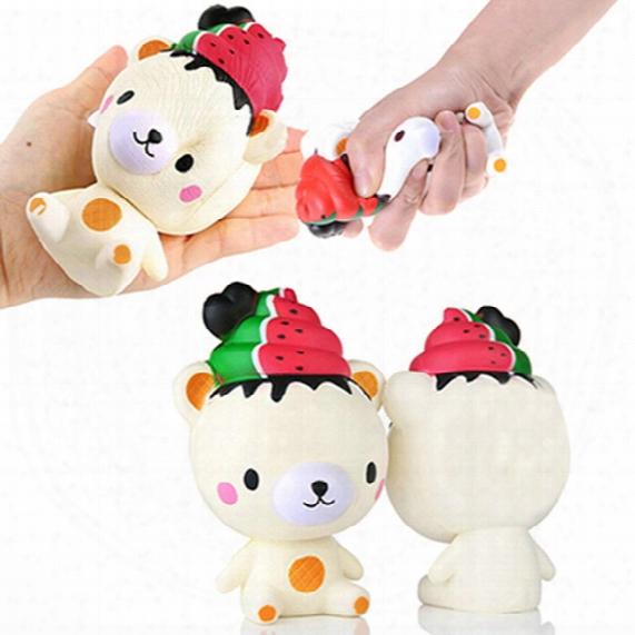 Cute Jumbo Slow Rising Squishy Phone Straps Ice Cream Bear Cartoon Pendant Cream Scented Bread Kids Fun Toy Gift