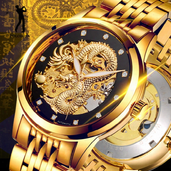 Dragon Skeleton Automatic Mechanical Watches For Men Wrist Watch Stainless Steel Strap Gold Clock 50m Waterproof Mens Hodinky Drop Shipping