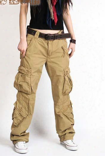 Fashion Womens Cargo Pants Multi Pocket Casual Cotton Pants Wide Leg Army Military Camo Cargo Overalls For Women Hip Hop Pants