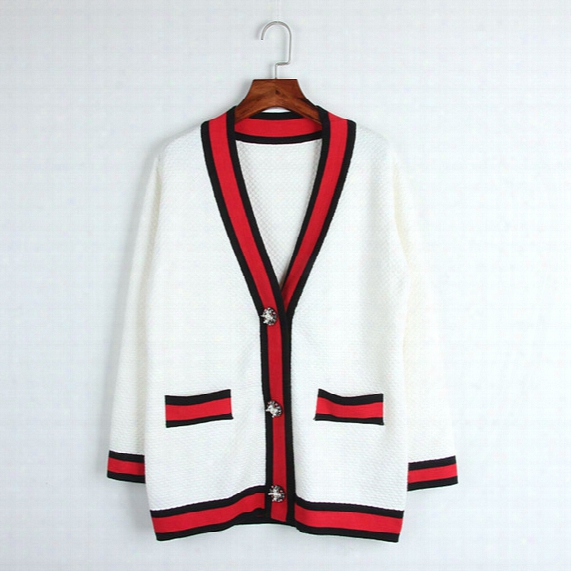 Free Shipping 2017 Brand Same Style Sweaters Cardigan Long Sleeve V Neck White Button Pocket Dl