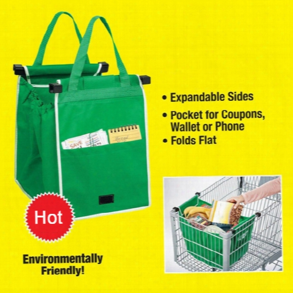 Grab Bag Clip To Cart Shopping Bag Foldable Tote Eco-friendly Reusable Large Trolley Supermarket Large Capacity Bags Lc531
