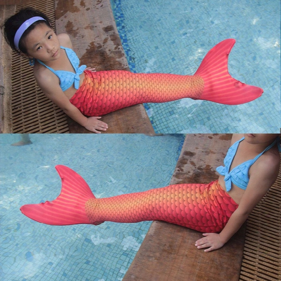 High Quality Lycra Suit Cute Girls Kids Cartoon Mermaid Tail For Swimming With Monofin Swimmable Wear Split Swimsuit Cosplay Costumes