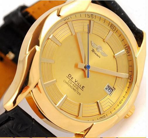 Hot Sale Brand Winner Men Gold Mechanical Hand Wind Watch Stylish Leather Skeleton Mechanical Wrist Watch Automatic Watch
