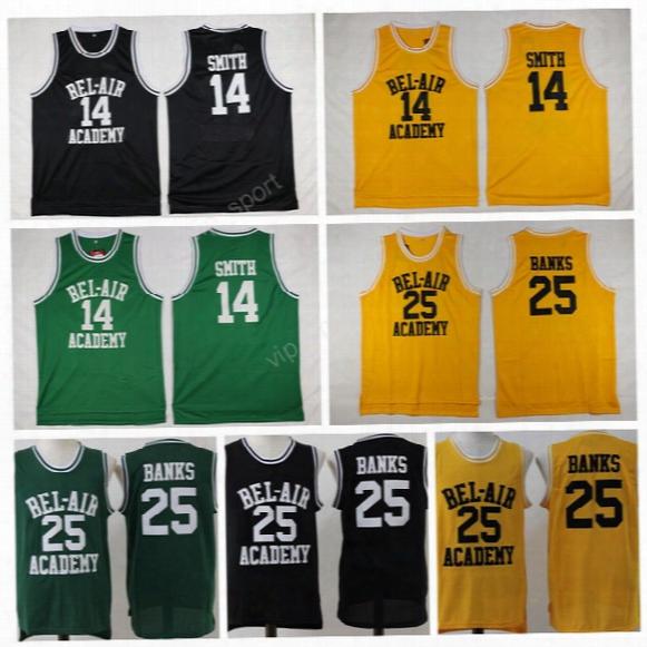 Men 14 Will Smith Jersey Of The Fresh Prince Basketball Jerseys 25 Carlton Banks Sport Bel-air School Clothes Yellow (tv Sitcom)