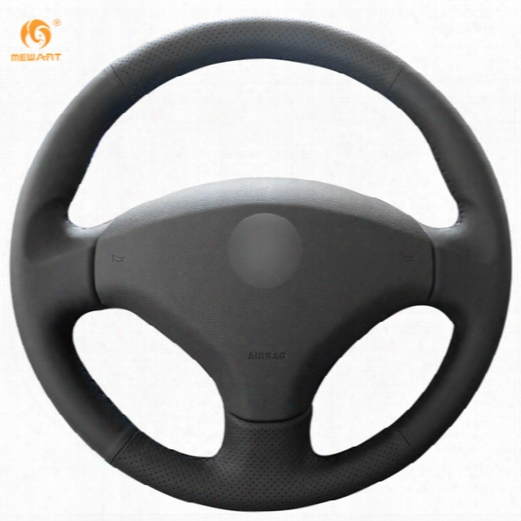 Mewant Black Genuine Leather Car Steering Wheel Cover For Old Peugeot 408 Peugeot 308