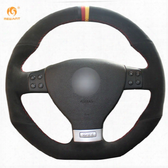 Mewant Black Suede Black Red Yellow Maker Car Steering Wheel Cover For Volkswagen Golf 5 Mk5 Gti Vw Golf 5 R32