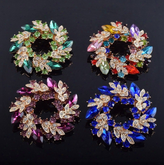 Multi Color Shining Crystal Petal Flower Pin Brooches For Women Wedding Party Gifts Brooch Scarf Buckle Jewelry Yz