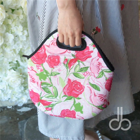 Neoprene Lilly Ocean Style Food Bag New Lly Floral Lunch Food Carrier Available In 10 Colors Dom106356