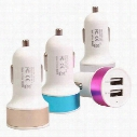 Car USB Charger Aluminum Cycle 5V 1A 2 USB Dual port Car Adaptor Color gift box packing free shiipping