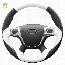 Mewant White Black Genuine Leather Car Steering Wheel Cover for Ford Focus 3 2012-2014 KUGA Escape 2013-2016