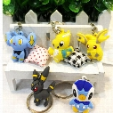 NEW Pikachu Pocket Monsters Umbreon Raichu Dragonite Piplup PVC Keychain Action Figure KeyChain Ring Keyring Pendant (Size: 4*3cm)