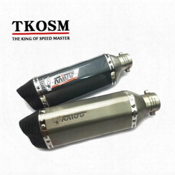 Tkosm Carbon Fiber Color 35-51mm Motorcycle Akrapovic Exhaust Muffler Pipe Sc Escape Moto Exhaust Cb400 Tmax530 Cbr125 Z800