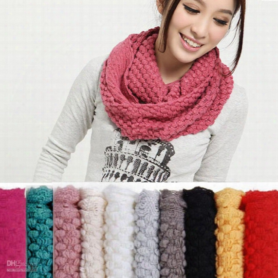 Wholesale - 10 Pcs/lot + New Arrival Women Top Selling Warm Knit Neck Circle Wool Cowl Snood Long Scarf Shawl Wrap Free Shiipping