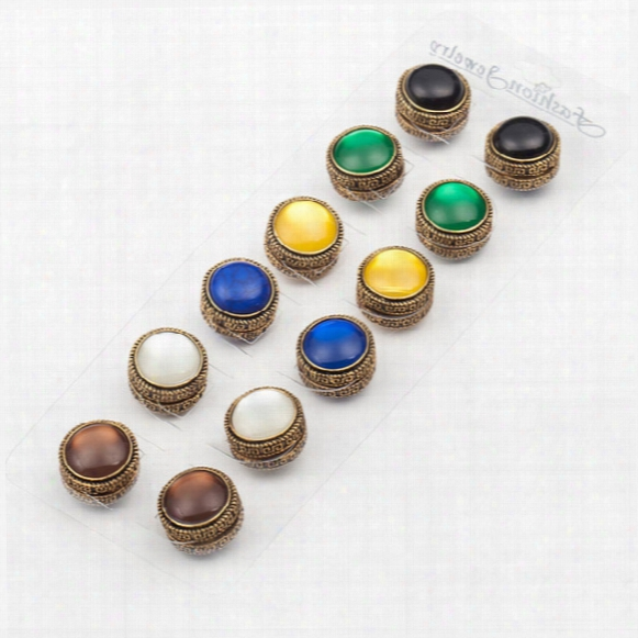 Wholesale- 12pcs Classic Vintage Fix Pin 3 Color Mix Elegant Magnet Brooch Hijab Accessories Muslim Scarf Buckle