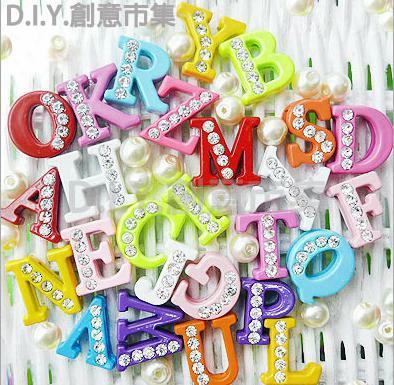 Wholesale 130pcs/lot 8mm A-z Colorful Half Rhinestone Slide Letter Charm Diy Alphabet Accessories