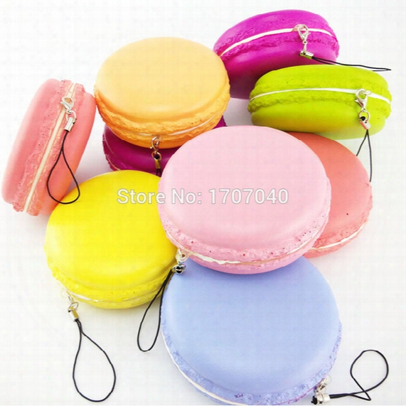 Wholesale-15pcs Jumbo 8cm Kawaii Soft Dessert Macaroon Squishy Cute Cell Phone Straps Key Chains Wholesale