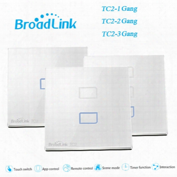 Wholesale-eu/uk Standard Broadlink Tc2 1 2 3 Gang Smart Switch Wall Light Lamps Touch Screen Wireless Wifi Remote Control Home Automation