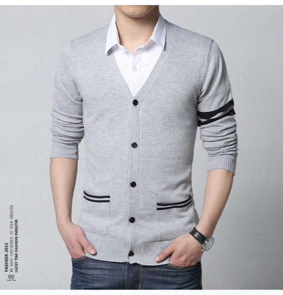 Wholesale Free Shipping New Stylish Striped Sweater Men Brand Slim Fit Mens Jumper M - Xxl Button Cardigans Men Cotton Winter Men Sweater