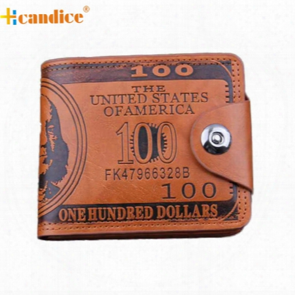 Wholesale- Hcandice Us Dollar Bill Wallet Brown Leather Wallet Bifold Credit Card Photo Best Gift Jan6