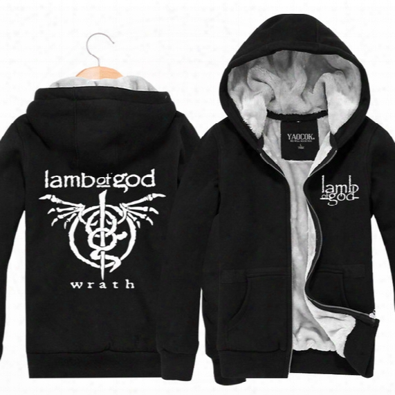 Wholesale-lamb Of God Rock Band Winter Outerwear Sports Cardigan Thickening Plus Velvet Jacket Mens Hoodies And Sweatshirts Fashion 2016