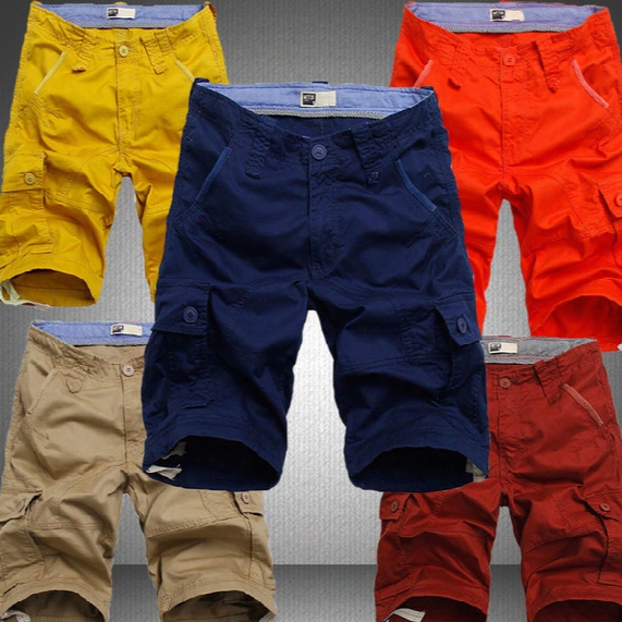 Wholesale-mens Shorts Army Summer Style New Fashion Board Cargo Shorts Multie Pockets Casual Shorts Male Big Plus Size 40 42 44 Knee