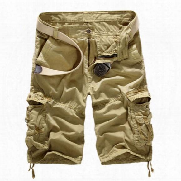 Wholesale- New 2017 Brand Cargo Shorts: Fashion Casual Cotton Large Size Men Shorts Loose Shorts With Multi-pockets