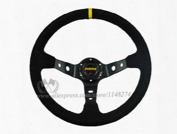 Wholesale / New Arrival / 350mm Momo Deep Corn Rally Suede Steering Wheel Universal Fit Stocked Ready To Ship