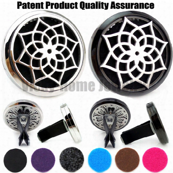 Wholesale- Silver And Black Lotus(38mm) Magnet Diffuser 316 Stainless Steel Car Aroma Locket Free Pads Essential Oil Car Diffuser Lockets