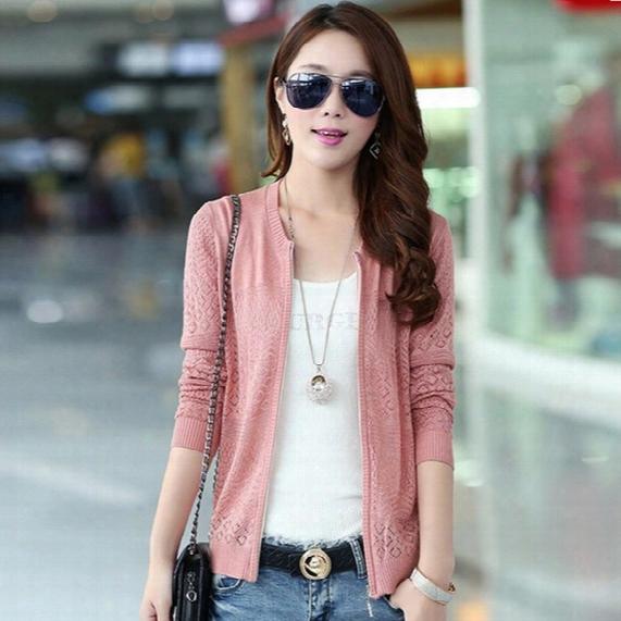 Wholesale-thin Spring Autumn Cardigan Korean Women Loose Knit Cardigan Sweater Hollow Air-conditioned Shirt Sun Shirt Zipper