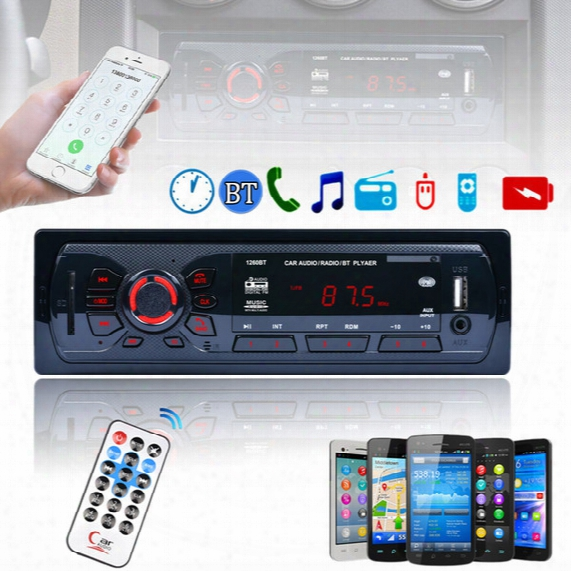 12v Bluetooth Car Stereo Fm Radio Mp3 Audio Player Aux Input Receiver Sd Usb Mp3 Radio 1 Din In-dash Cau_016