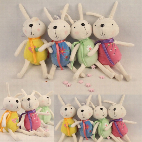 13cm Soft Plush Rabbit Toys 4 Colors Cute Rabbit Dolls Pandent Bag Car Home Pandent Stuffed Rabbit Dolls Kids Toys