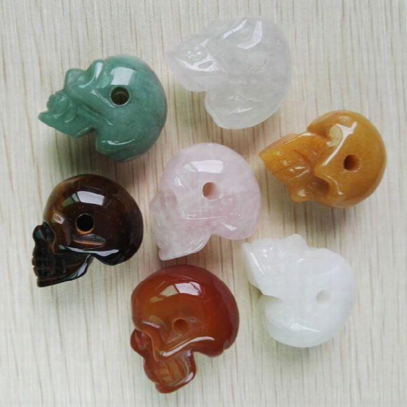 2015 Fashion Natural Carved Stone Skull Head Pendants Pendulum Beads Fit Diy Jewelry Making 6pcs/lot Wholesale Free Shipping