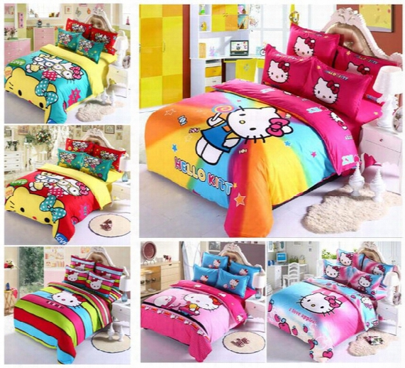2016 Home Textile New Hello Kitty Reactive Print Bedding Sets Cartoon Bed Sheet/duvet Cover Set Bedding Set