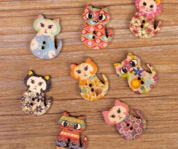 2016 New Multicolor 200pcs 2holes Mixed Color Cartoon Cat Wooden Decorative Buttons Fit Sewing Scrapbooking Crafts Wb-05 Garment Accessories
