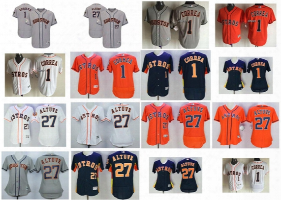 2017 Male Female Youth Mlb All-star Houston Astros Carlos Correa Jose Altuve Flex Cool Baseball Jerseys Xs-6xl Grey Orange White Blue