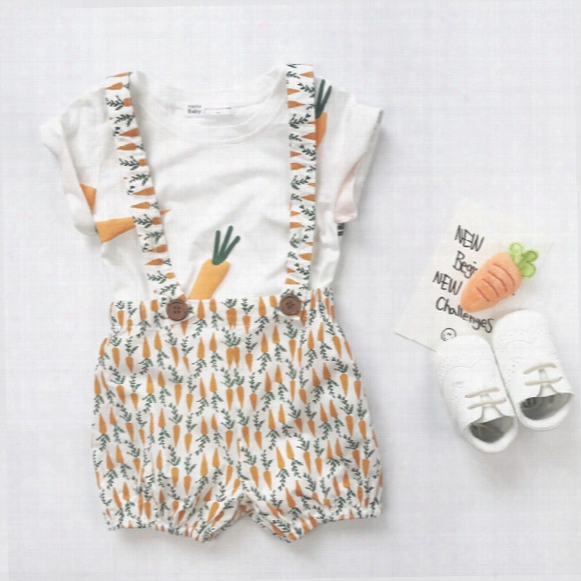 2017 New Carrot Print Children Outfit Boys Girls Sets Cotton T-shirt +suspender Trousers Shorts Bread Pants Best Suits Child Clothing A699
