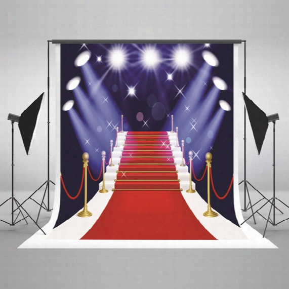 5x7ft Digital Printing Photography Background Red Carpet Stairs Background White Lights Glitter Photo Studio For Wedding Backdrop