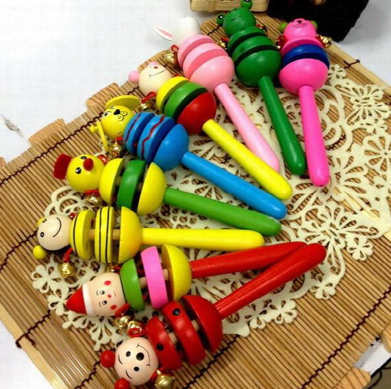 Baby Kid Rattles Wood Maraca Toys Cartoon Smile Face Jingle Shaker Toy Children Brand New Good Quality