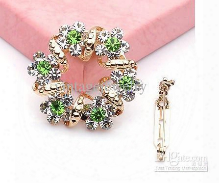 Crystal Brooch Fashion Scarf Pins Costume Jewelry Mixed Colors Free Shipping Lm-b009