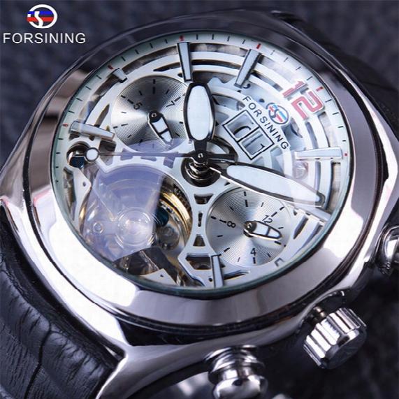Forsining 2017 Calendar Legend Tourbillion Design 3d Glass Design Strap Mens Watches Top Brand Luxury Automatic Skeleton Mechanical Watch
