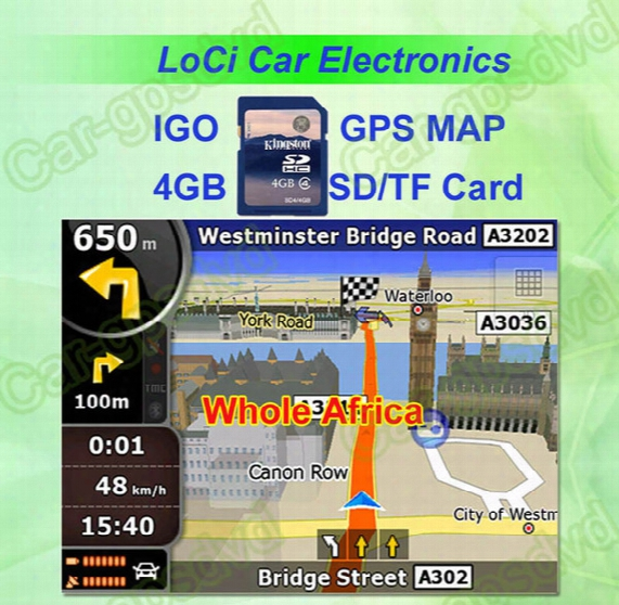 Free Shipping! The Latest 4gb Sd/tf Memory Card With Car Igo Primo Gps Navigator Map For Whole Africa