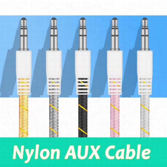High Quality Nylon Aux Cable 3.5mm Stereo Auxiliary Car Audio Cable 1m Male To Male For Mobile And Tablets Car Music Play