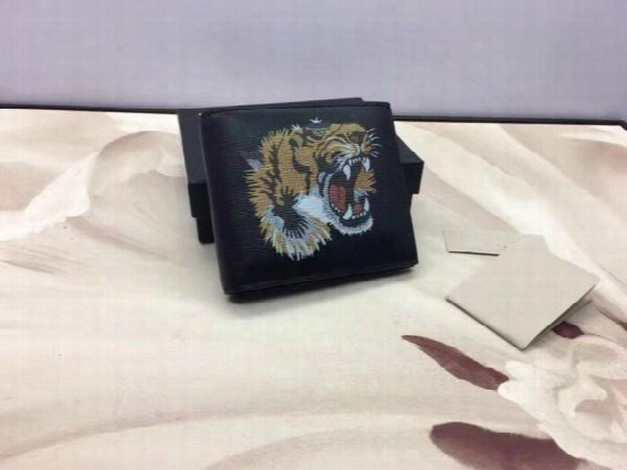 Hot Sale High Quality Real Leather Small Wallet With Tiger Pattern Casual Short Designer Card Holder Pocket Fashion Purse Wallets For Men