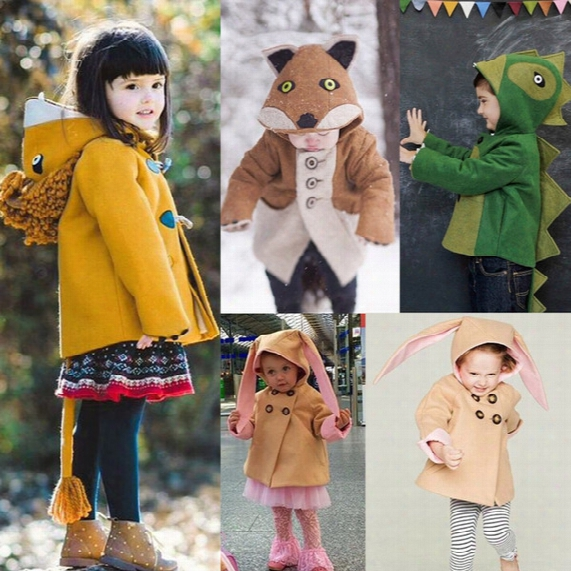 Kids Girl Boy Cartoon Animals Coat Lovely Rabbit Bunny Winter Coat Jacket Outwear Clothes