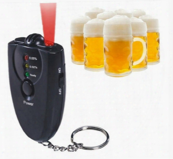 Lcd Digital Alcohol Breath Tester Driving Car Key Chain Breathalyzer Analyzer Detector Test With Red Led Flashlight