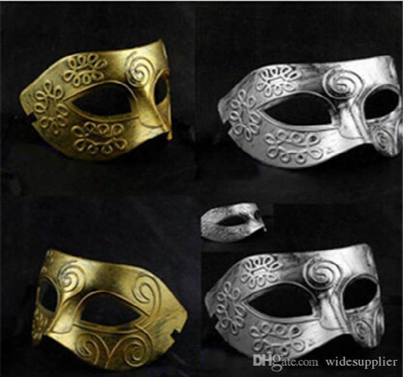 Men's Retro Greco-roman Gladiator Masquerade Masks Vintage Golden/silver Mask Silver Carnival Mask Mens Halloween Mask Costume Party Ma